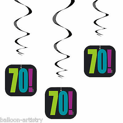 3 Cheery Balloons Black 70th Birthday Party Hanging Cutout Swirl Decorations