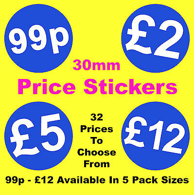 30mm Bright Blue Promotional Point Of Sale Retail Price Stickers Sticky Labels
