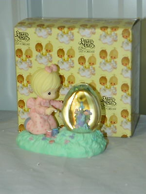 1997 Precious Moments 960209 Girl Bunny Easter Painting Egg Shaped Waterball MIB