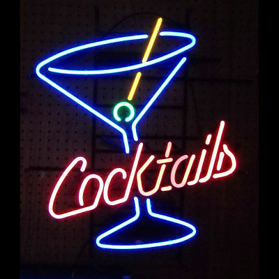 LARGE Cocktails & Martinis Neon Sign - Bar Club Lounge Light Lamp - Ships Fast!