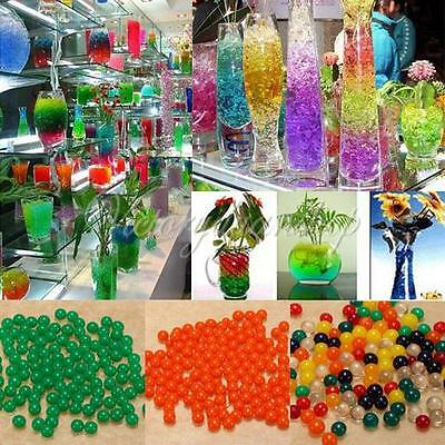 Colorful Water Crystal Soil Bio Gel Pearls Jelly Ball Beads Plant Wedding Vase