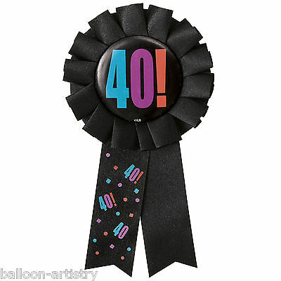 Cheery Balloons Black Happy 40th Birthday Party Award Ribbon Rosette Badge