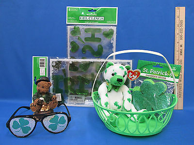 St Patricks Window Gel Clings Ty Clover Beanie Shamrock Decor & Glasses Lot of 7