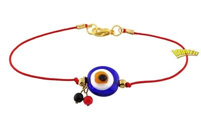 KABBALAH RED BRACELET WITH GLASS EVIL EYE - Protection Charm Against Bad Luck