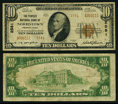 Norristown PA $10 1929 T-2 National Bank Note Ch #2581 Peoples NB Fine+
