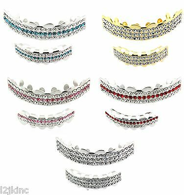 Best Grillz Gold Silver Plated 3 Row Iced Out Top & Bottom Teeth Grillz  Bling