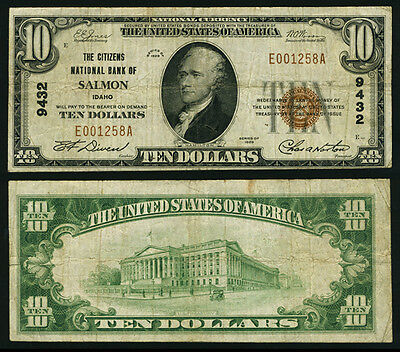 Salmon ID $10 1929 T-1 National Bank Note Ch #9432 Citizens NB Very Fine