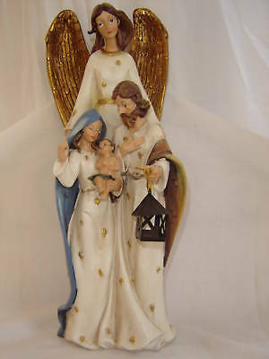 "12"" TALL ANGEL OVERLOOKING THE HOLY FAMILY"