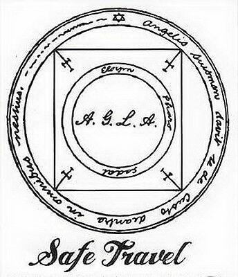 STICKER: SAFE TRAVEL - MAGICK SEAL - Wicca Witch Pagan Goth Occult Punk New Age