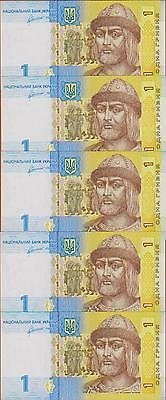 LOT, Ukraine, 5 x 1 Hryvnia, 2011, P-New, UNC
