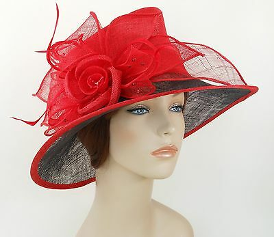 New Woman Church Derby Wedding Sinamay Ascot Dress Hat 3079 Red and Black