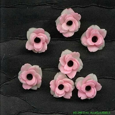 JAPAN VINTAGE CELLULOID OPEN ROSES FLOWER CHARMS Beads PINK plastic hand painted