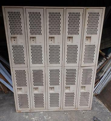 Vintage Industrial Steel Gym Locker Unit Pool Steampunk 10 Doors Old 3191-14