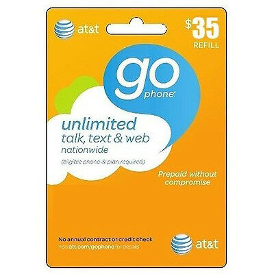 AT&T Go phone $35 Refill. FASTEST REFILL card Credit applied DIRECTLY to PHONE