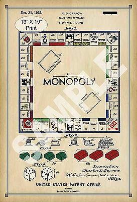 1935 Colorized Patent Art Print Monopoly Board Game Child Play Room Poster