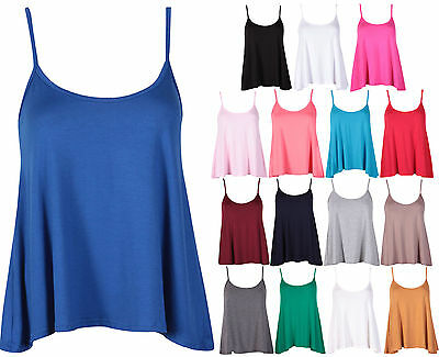 Womens Plain Sleeveless Ladies Stretch Strappy Swing Camisole Vest Top Plus Size