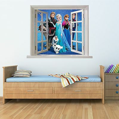 Wall art Graphic FROZEN CHARACTERS DECOR FAUX WINDOW Printed Vinyl Sticker