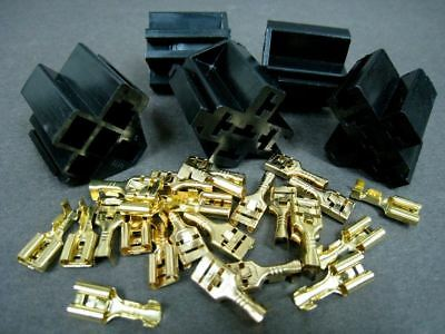 NEW Auto 5 Wire Relay Female Sockets + Brass Connector Terminals x 5 sets #GTCs