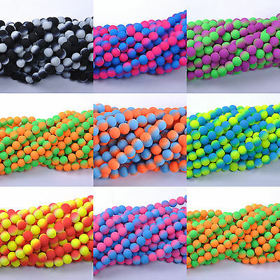Mixed Matte Neon Frosted Czech Glass Round Loose Spacer BEADS - Choose 6MM,8MM