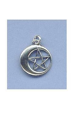 Pentacle in Moon Pendant  ~SS
