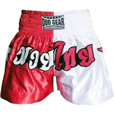 Red White Starsplit Shorts Trunks For Martial Arts And Thaiboxing
