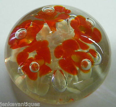 Vintage JOE ST CLAIR Signed Art Glass PAPERWEIGHT Bubble Red Flower Elwood IN