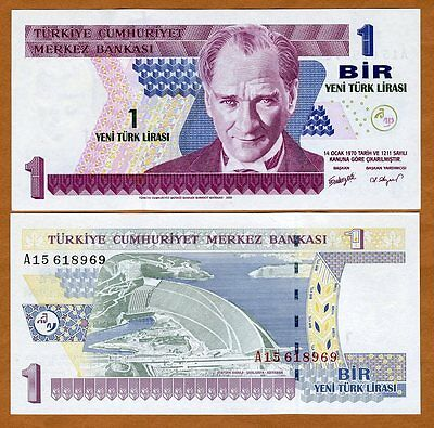 Turkey, 1 New Lira L. 1970 (2005), P-216, UNC