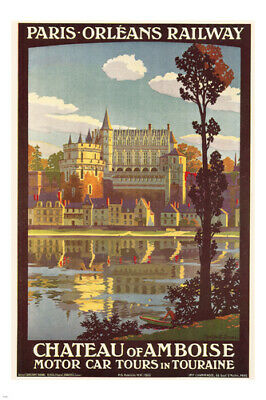chateau of amboise FRENCH VINTAGE TRAIN TRAVEL POSTER 24X36 lake mansion