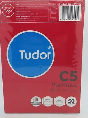 Tudor C5 White Envelope Peel N Seal Plain Face Pocket 229x162mm 50/Pk 140173