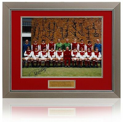 Arsenal 1971 Double Winners team group photo signed by 12 AFTAL photo proof COA