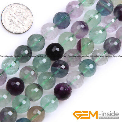"""Natural Gemstone Rainbow Fluorite Faceted Round Beads For Jewelry Making 15"""" YB"""