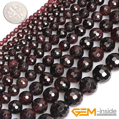 "Natural Dark Red Garnet Gemstone Faceted Round Beads For Jewelry Making 15"" YB"