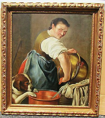 Old Master Dutch School 18th Century Large Painting. Kitchen Scene Signed