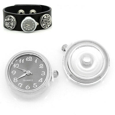 "1 New  Watch Face Snap Click Buttons Snap Silver Tone 25mmx21mm(1""x7/8"")"
