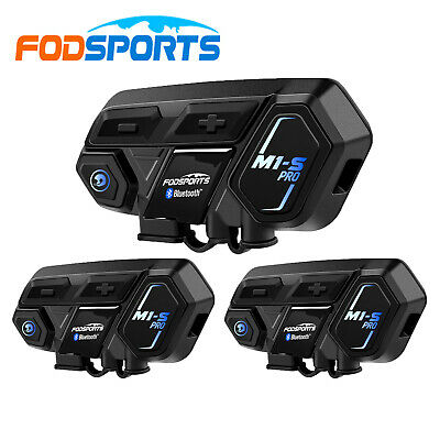 2x 1200M Motorcycle Helmet Interphone Bluetooth Intercom headset FM for 5 Riders