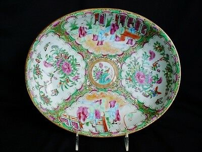 Fine 19th Century Chinese Rose Medallion Porcelain Large Oval Bowl