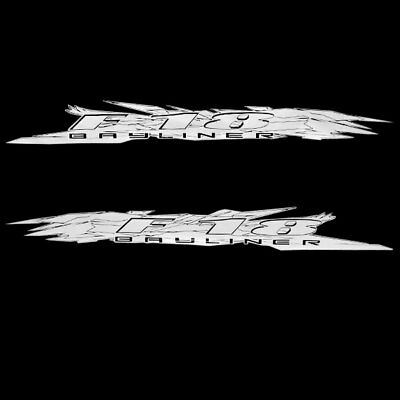 Bayliner OEM F-18 White Glitter Flake 100 x 11 Inch Hull Graphic Boat Decals (Se