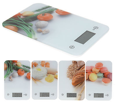 Attractive 5KG Glass Digital LCD Kitchen Scales Compact Slim Weighing Scales