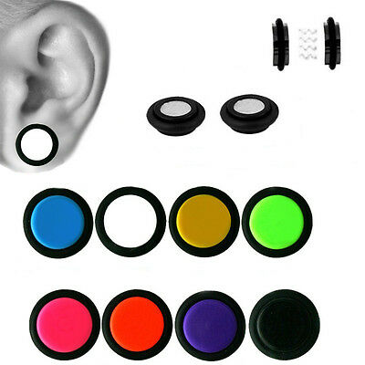 Fake Magnetic Ear Plugs 0G or 00G Look White, Black,Pink Acrylic