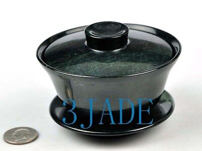 Natural Black Green Jade / Serpentine Bowl Sets (GaiWan)