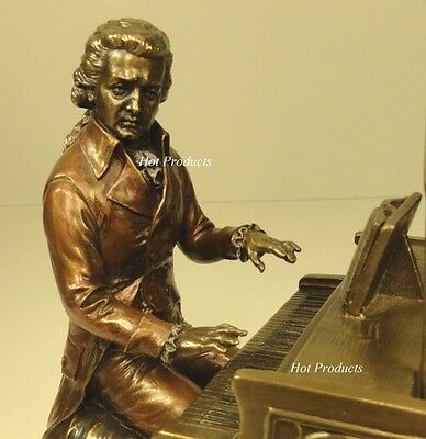 MOZART Playing Piano Sculpture Statue Rich Antique Bronze Finish