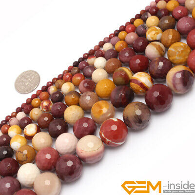 """Natural Mookaite Jasper Faceted Round Beads Strand 15"""" 6mm 8mm 10mm 12mm 14mm"""