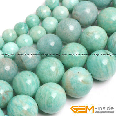 Natural Brazilian Amazonite Gemstone Round Beads For Jewelry Making String 15""