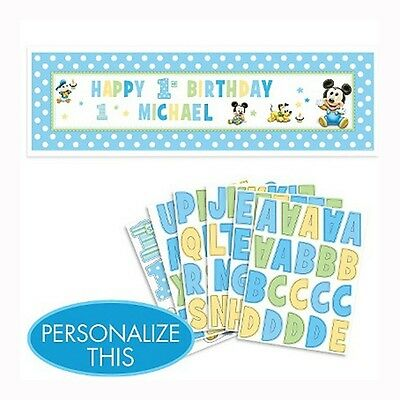 65in Baby Mickey Mouse 1st Birthday Party Personalized Banner Decoration