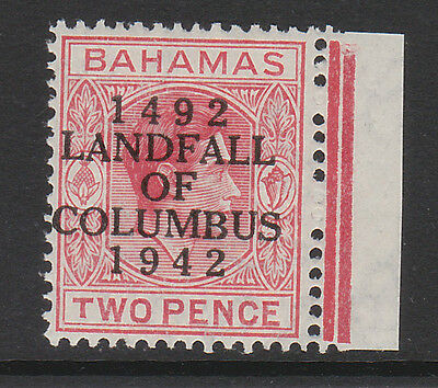BAHAMAS 1942 2d SCARLET WITH SHORT 'T' SG 165a MINT.