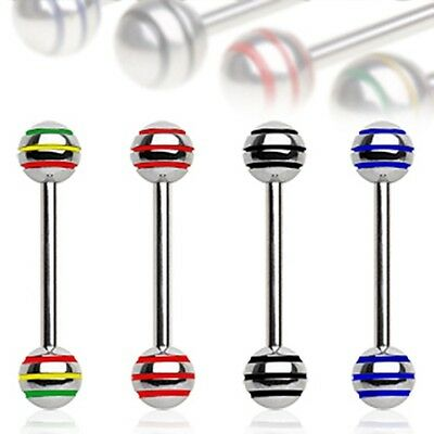 New 14g Surgical Steel Stripe Ball Industrial Tongue Bar 16mm Choose Colour