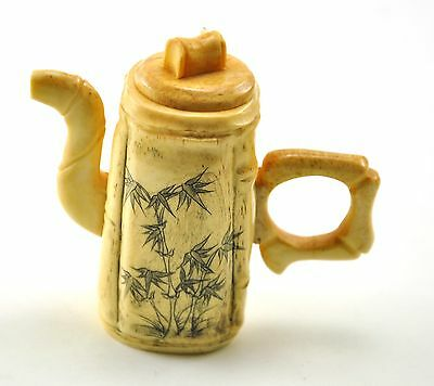 Vintage Chinese Bone Hand Carved Bamboo Teapot Miniature
