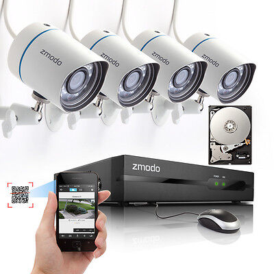 4CH NVR Outdoor Network 720P HD IP PoE Security Camera System 500G QR Code Scan