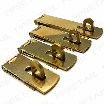 2 x SOLID BRASS HASP & STAPLE ~ 38/50/63/75mm ~ Door Cupboard/Cabinet Strap Pair