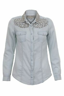 Ladies Denim Long Sleeve Studded Shoulder Collared Womens Casual Shirt Top